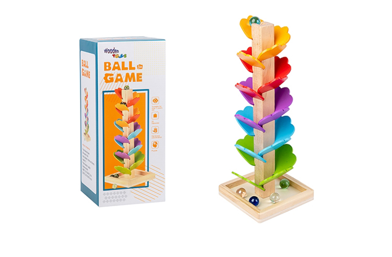 Wooden Leaf Shape Marble Run Game