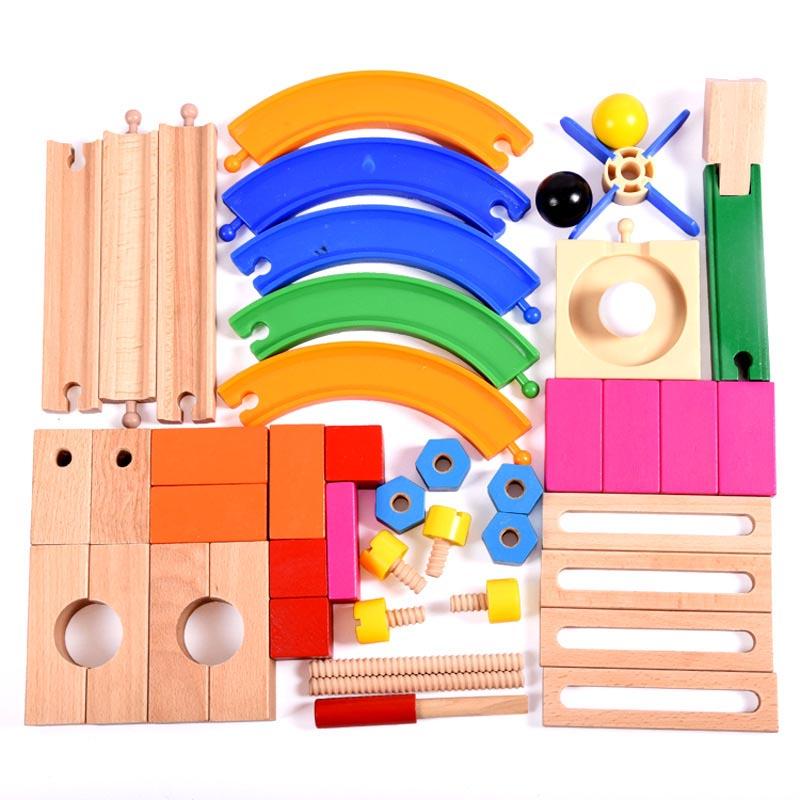 Wooden Marble Run Children Toys Set