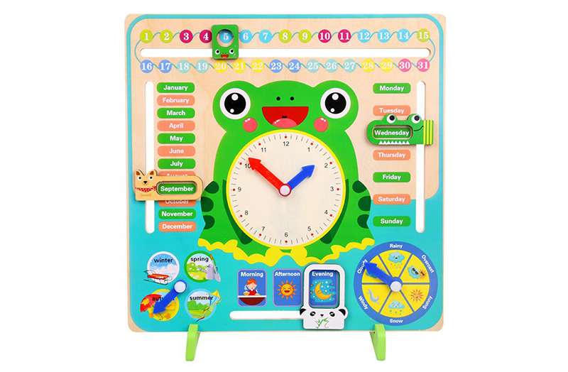 Wooden Frog Calendar Board Clock Toy